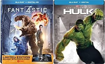 Exclusive Limited Super Marvel Movie Bundle Fantastic Four Photo Book 2015 + The Incredible Hulk Steelbook Bonus Features Hero Special Series Double Feature Set