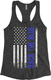 Threadrock Women's Back The Blue American Flag Burnout Racerback Tank Top