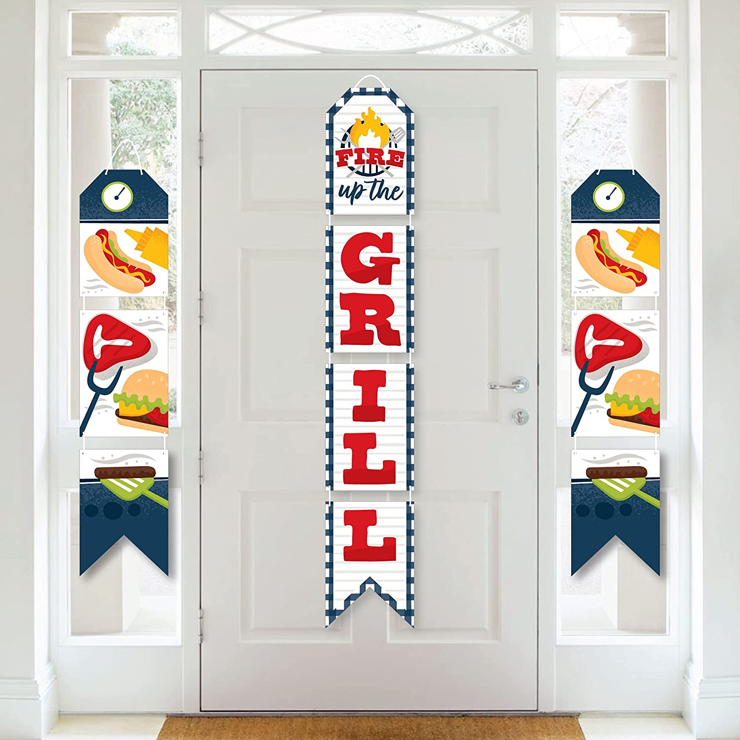 Big Dot of Happiness Fire Up the Grill - Hanging Vertical Paper Door Banners - Summer BBQ Picnic Party Wall Decoration Kit - Indoor Door Decor