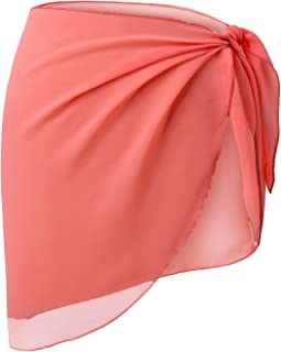 LIENRIDY Women's Short Sarong Wrap Cover Up Swimwear Coral Orange Short 2XL-3XL