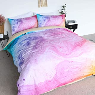 BlessLiving 100% Cotton Marble Duvet Cover Colorful Marble Bedding Pastel Pink Blue and Purple Bedspread 3 Pieces Girls Bed Set (King)
