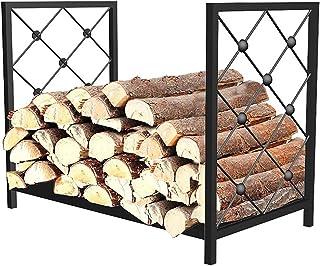 Wood Cradle 4 Feet Firewood Rack, Indoor/Outdoor Logs Holder Metal Tubular Wood Stacker for Kindling Logs, Fireplace Outsi...