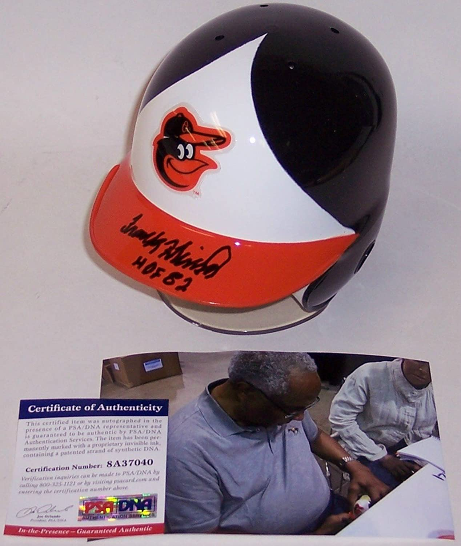 Frank Robinson Autographed Hand Baltimore Orioles Mini Batting Helmet  PSA DNA