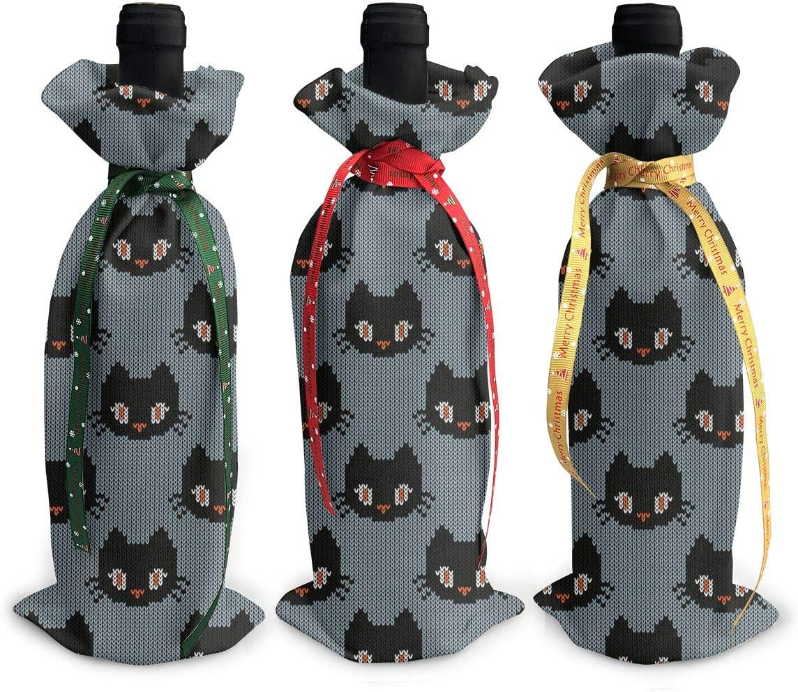 Happy Halloween Fall Cute Black Red Wine Xmas Large-scale sale Christmas Seattle Mall Cat3Pcs