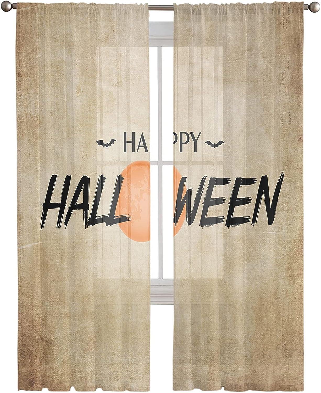Sheer Curtains Happy OFFicial site Halloween Moon Pocket Finally popular brand Bats Semi-Sheer Rod C