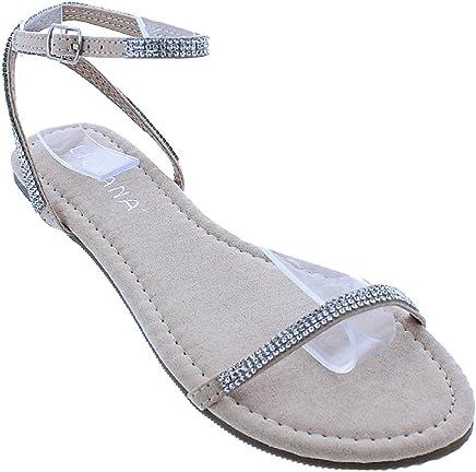 aac5c0530e Liliana Marlo-15 Women Rhinestone Open Toe Flat Sandal Ankle Strap
