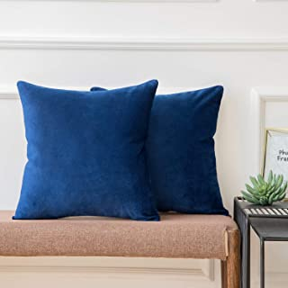 Ashler Pack of 2 Soft Velvet Decorative Throw Pillow Cushion Cover Sets Navy Blue 22 x 22 Inches 55 X 55 cm