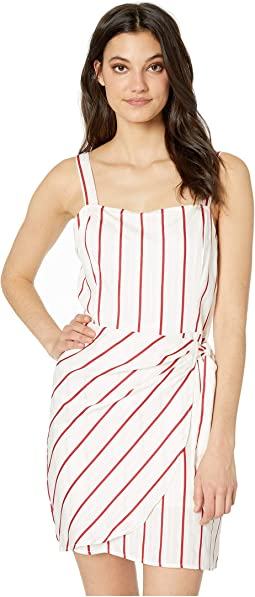 Striped Wrap Tie Dress