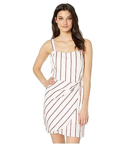 J.O.A. Striped Wrap Tie Dress (Red Stripe) Women