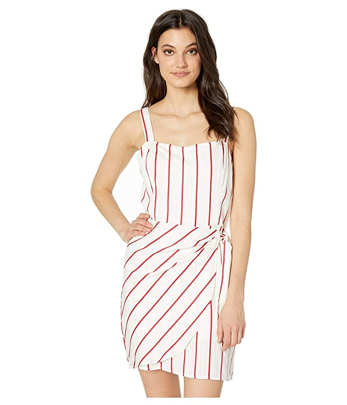 J.O.A. Striped Wrap Tie Dress (Red Stripe) Women