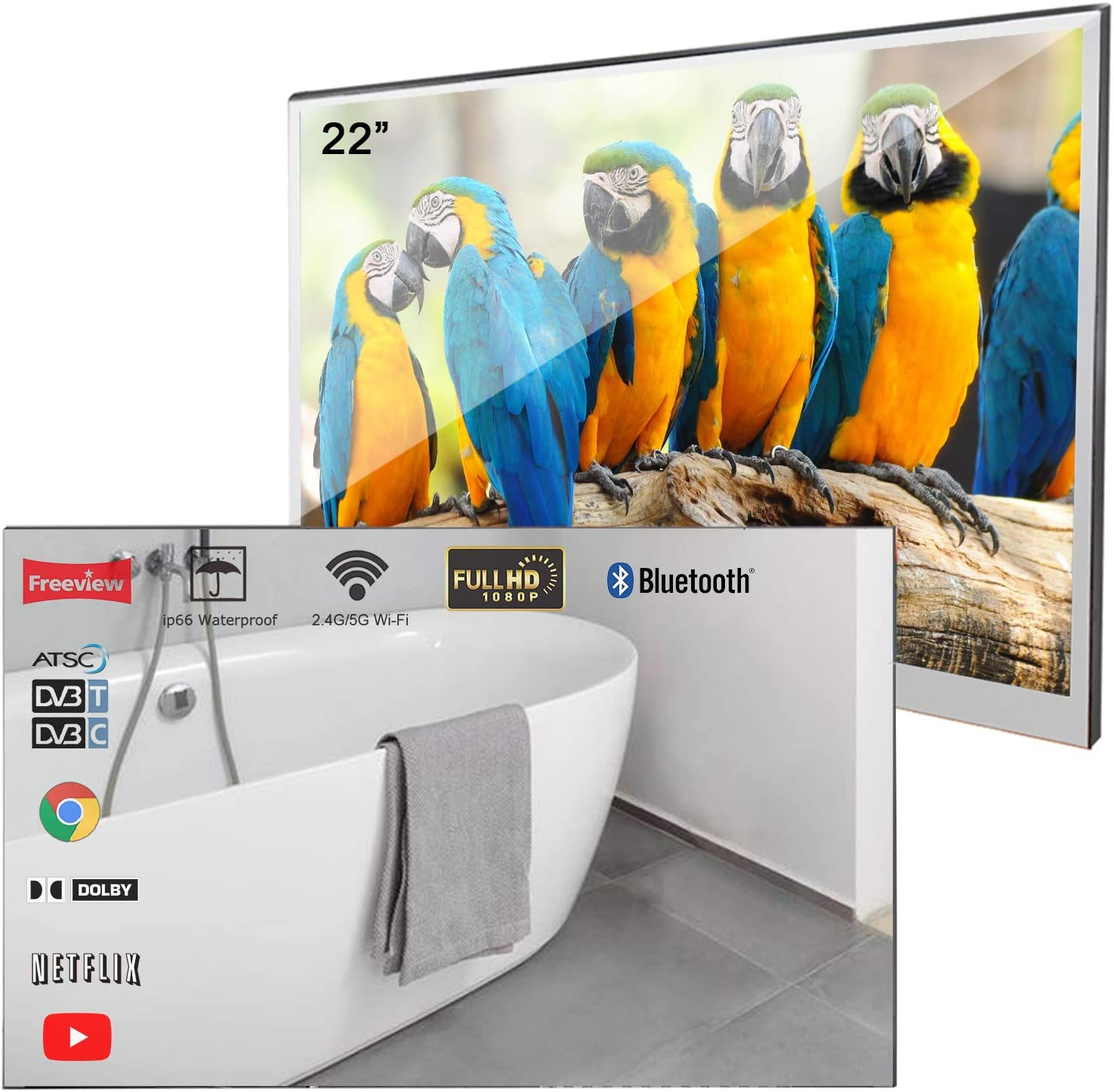 Soulaca Velasting 22 inches Updated Bathroom Bombing new work Mirror LED TV Ranking integrated 1st place Magic