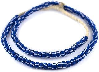 TheBeadChest Indigo Blue & White Matte Ghana Chevron Beads 9mm African Round Glass Large Hole 26 Inch Strand Handmade