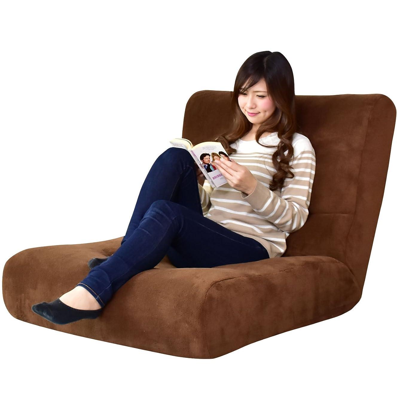 区兄弟愛神社DORIS 座椅子 ワイドサイズ 幅80 ハイバック 42段階 リクライニング ポケットコイル ブラウン ヌイ