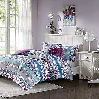 Intelligent Design Joni Comforter Full/Queen Size-Purple, Blue, Bohemian Pattern – 5 Piece Sets – Ultra Soft Microfiber Teen Bedding for Girls Bedroom