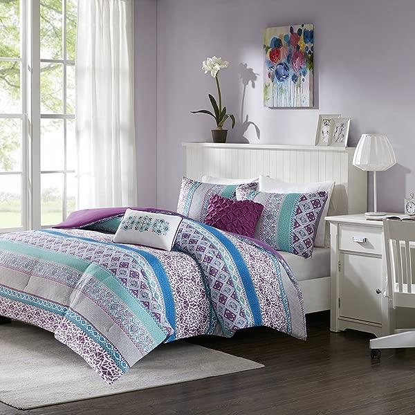 智能设计 Joni 被子全大号紫色蓝色波西米亚图案 5 件套超柔软超细纤维青少年床上用品女孩卧室