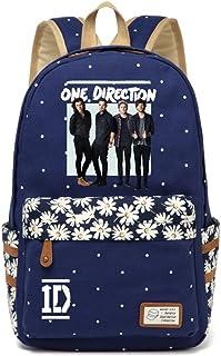 AUGYUESS One Direction Leinwand Schultasche Tagesrucksack Büchertasche Laptoptasche Handtasche Rucksack
