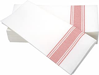 "SIMULINEN Dinner Napkins –RED Stripe Bistro– Decorative Cloth Like & Disposable Bistro Napkins – Soft, Absorbent & Durable (19""x17"" – Box of 60)"