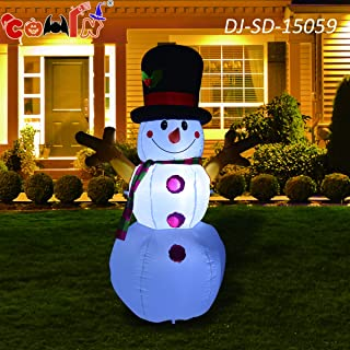 GOOSH Christmas Masters Inflatable Snowman with Branch Hand LED Lights Indoor-Outdoor Yard Lawn Decoration - Cute Fun Xmas Holiday Blow Up Party Display (5 Foot Tall Inflatable Snowman)
