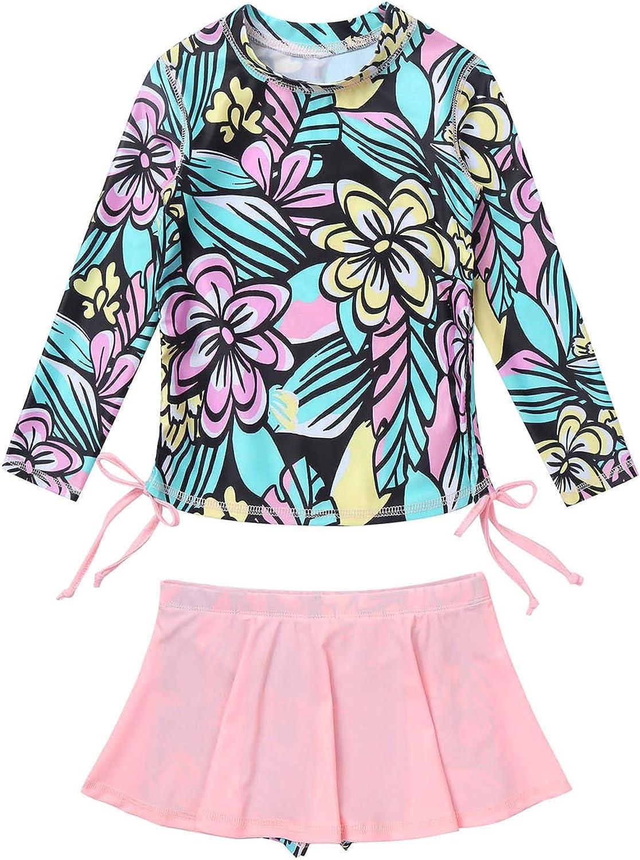 TTAO Kid Girls Max 56% OFF Rash Guard 2-Piece Sleeve Swimsuit Flowe Long Set Store