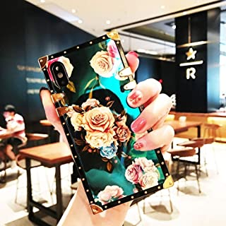 Maxlight Luxury Blue Ray Soft Metal Square Phone Case for iPhone 7 8 Plus Rose Flower Back Cover for iPhone Xr Xs Max X Fashion Case (Style2, for iPhone XR)