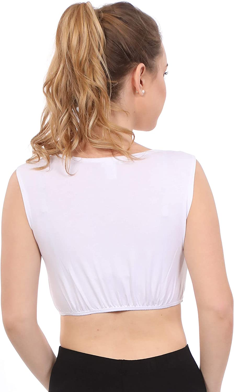 Kosher Casual Women's Modest High Neck Cropped Layering Shell - Viscose Spandex Full Shoulder Sleeveless Tank