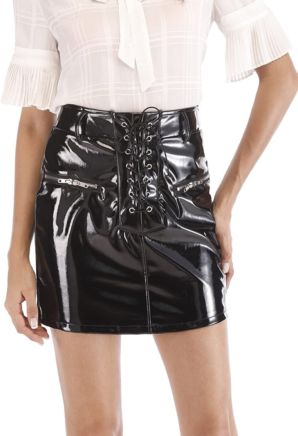 Agmibrelr Women's Laceup High Waisted Faux Leather Bodycon Mini Skirts with Pockets