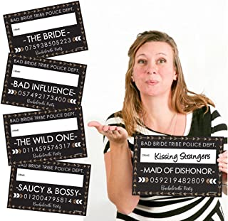 Bride Tribe - Bridal Shower & Bachelorette Party Mugshot Signs - Photo Booth Props Party Mug Shots - 20 Count