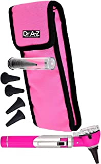 Dr A-Z LED Pocket Otoscope Adult Pediatric Disposable Specula Tips Case Full Spectrum Pocket Clip in Diagnostic Approved Ear Care Professional Medical & Home Set Compact Size Fiber ENT Optic (Pink)