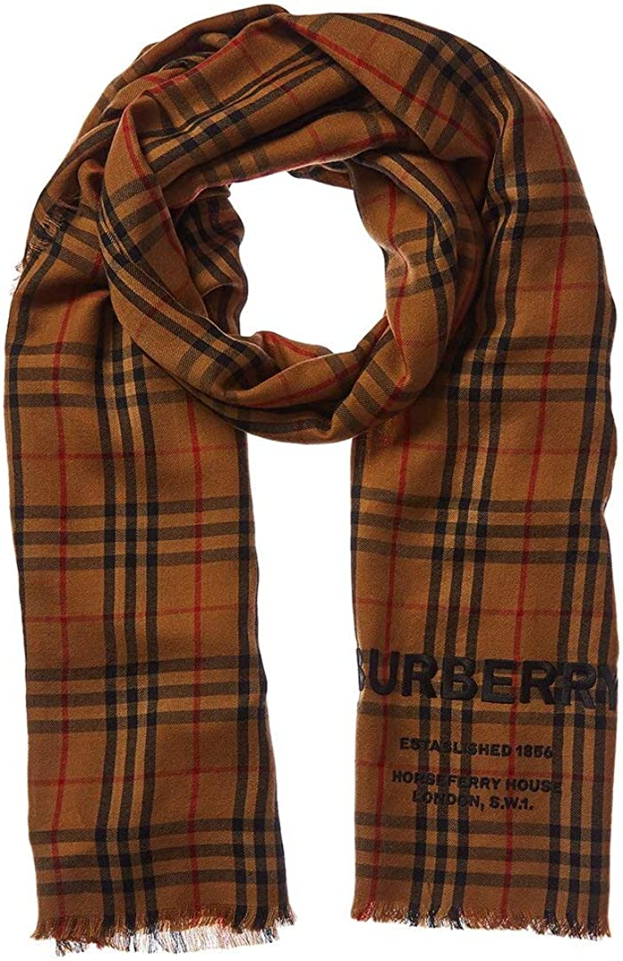 Burberry Embroidered Vintage Check Cashmere Scarf, Os, Brown