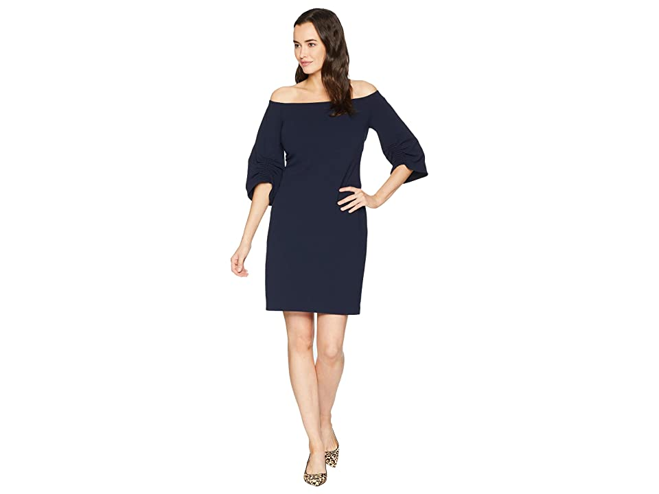 Vince Camuto Cinched Sleeve Off Shoulder Crepe Ponte Dress (Classic Navy) Women