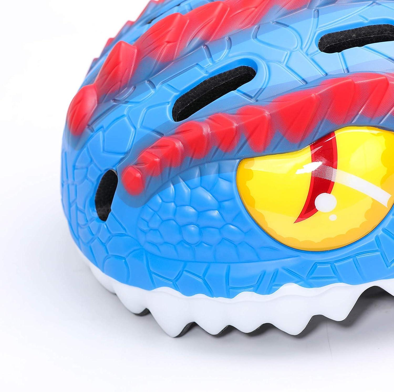 Multi-Sport Skateboard Cycling Helmets for Ages 2-13 Year Boys and Girls 3D Dinosaur//Shark Helmet Adjustable Kids Helmets Kids Bicycle Helmets