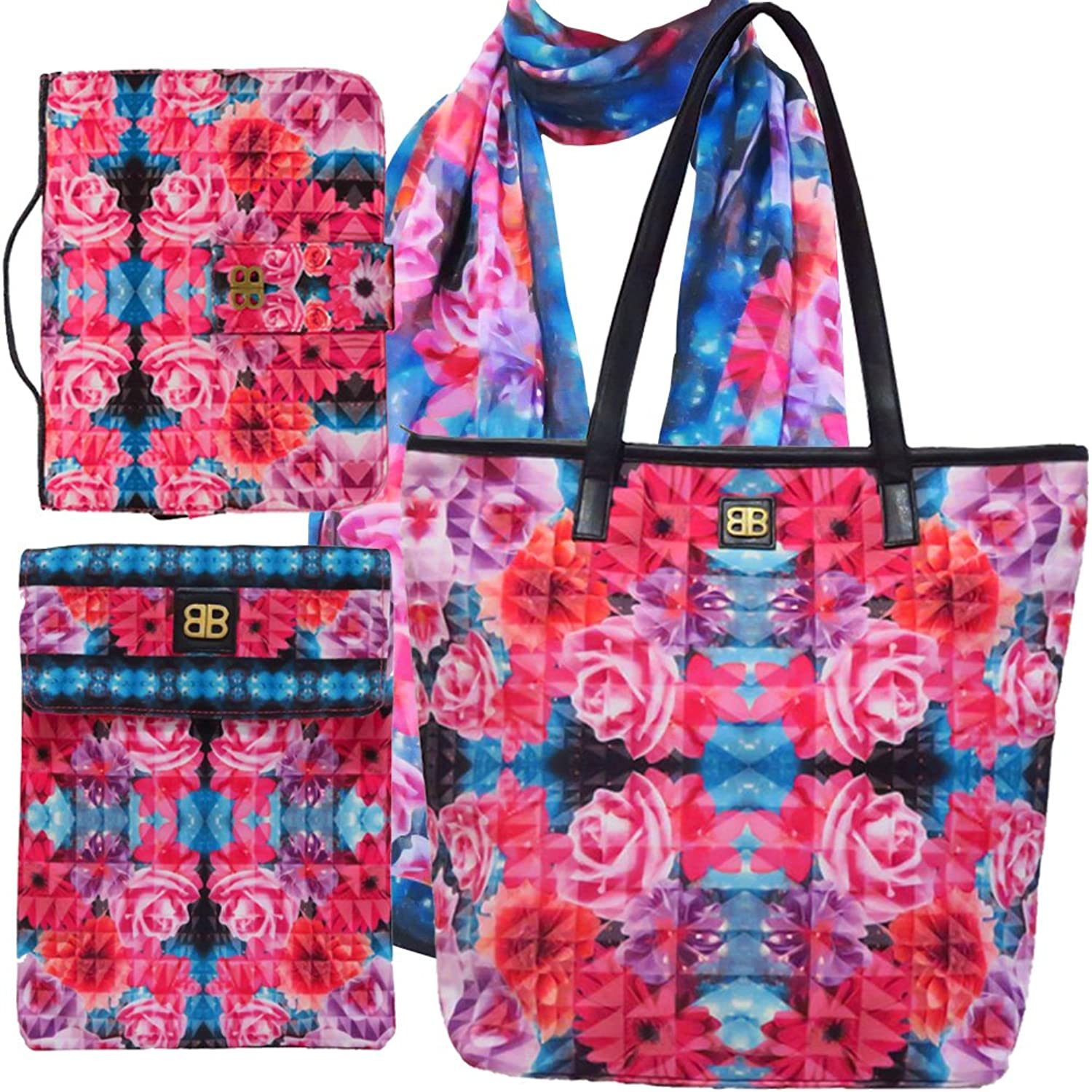 Bagabook Charming Bouquet Set Tote Bag Scarf Executive Book Bible Cover Ipad Tablet Pouch
