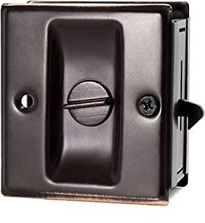 """Privacy Sliding Door Lock With Pull Oil Rubbed Brass- Replace Old Or Damaged Pocket Door Locks Quickly And Easily, 2-3/4""""x2-1/2"""", For Door Thickness From 1-3/8"""" To 1-3/4"""""""