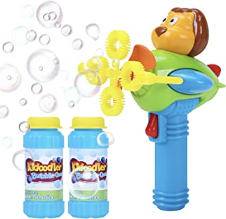 Bubble Gun Blower for Kids - Non-Toxic Bubble Blower with 2 Bubble Solutions - Mini Hand-Held Machine with 4 Wands for Blo...