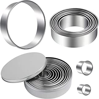 Aoklets 14 Pieces Round Cookie Cutter Set, Donut Cutter Set, Stainless Steel Circle Fondant Molds for Dough Pastry Biscuit...
