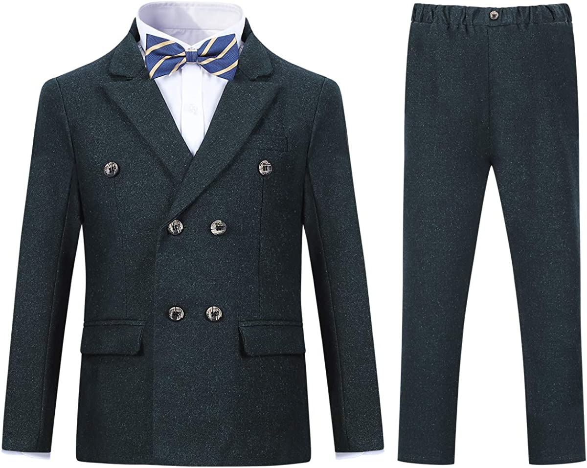 Boys Double Breasted Suit Formal Dress 2 Pieces Blazer Trousers for Wedding