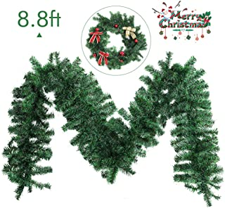 INTERGREAT Christmas Garland Decorations 8.86 ft Unlit Christmas Garlands Artificial Pine Garland Christmas Wreath Mantle Decoration for Outdoor Indoor Non-Lit Green