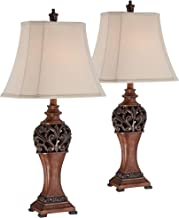 Exeter Traditional Table Lamps Set of 2 Bronze Wood Carved Leaf Creme Rectangular Bell Shade for Living Room Family Bedroo...