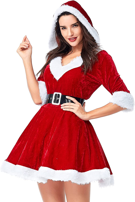 Lu's Chic Women's Mrs Claus Choice High quality new Costume Velvet Santa 2 Christmas Set