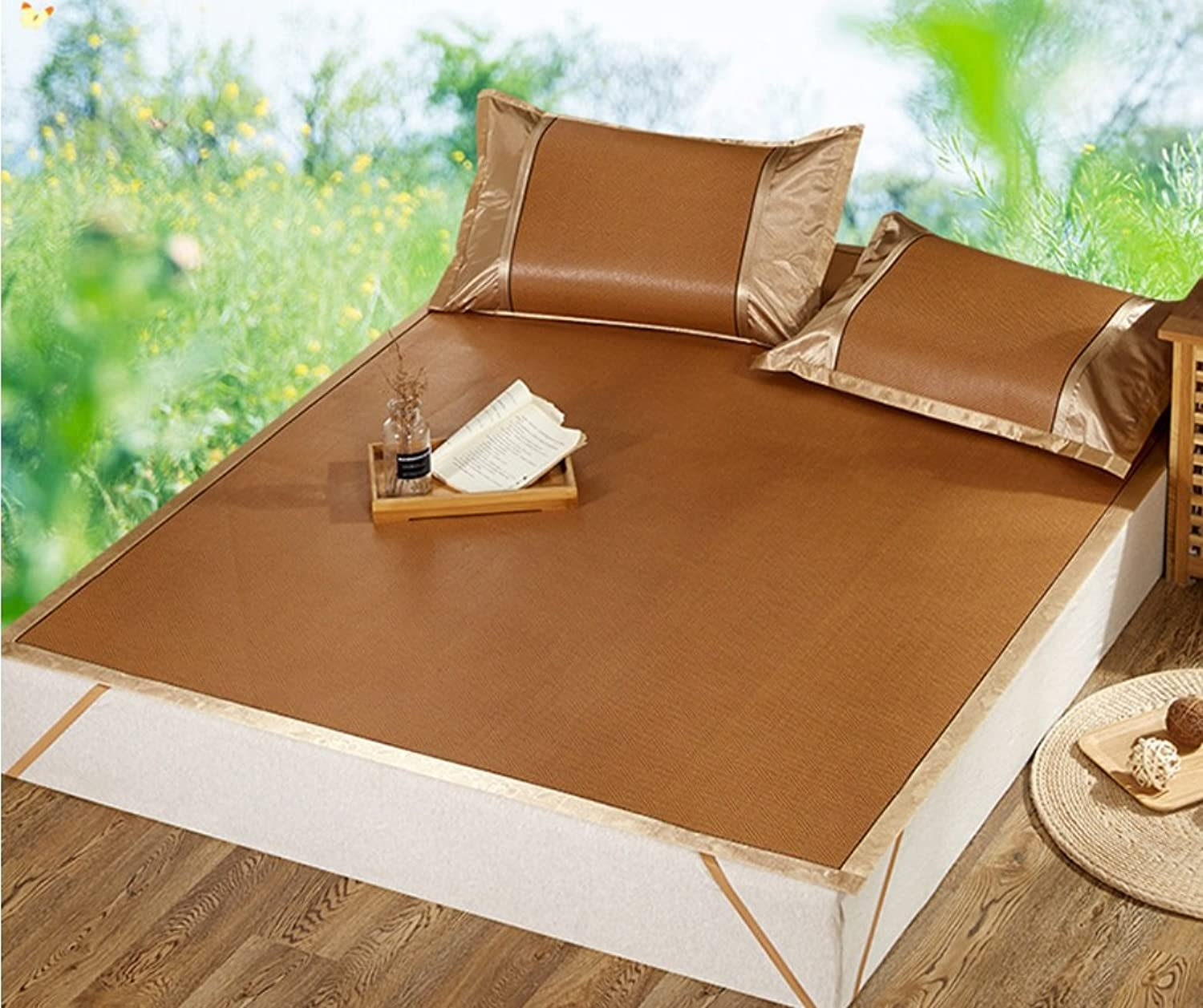 Summer Day Foldable Mat Single Double Household 1.5m1.8 Meters Ice Silk Mat Three Sets ZXCV (color   1, Size   150  195cm)