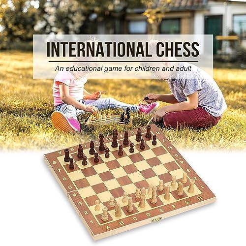 Hykis - International Chess Game Foldable boisen Chess Set EntertainHommest Game Chess Set Folding Board Educational Chess 2929cm