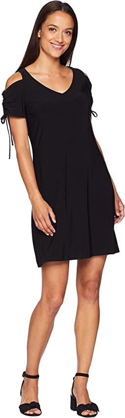 Teagan Ruched Cold Shoulder Dress