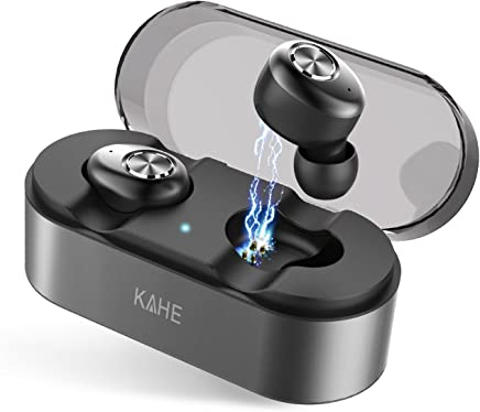 Bluetooth Earbuds, KAHE True Wireless Earbuds Bluetooth V5.0 Headphones HD Stereo Sound 15H Playtime TWS in-Ear Headset with Charging Case, Built-in Mic