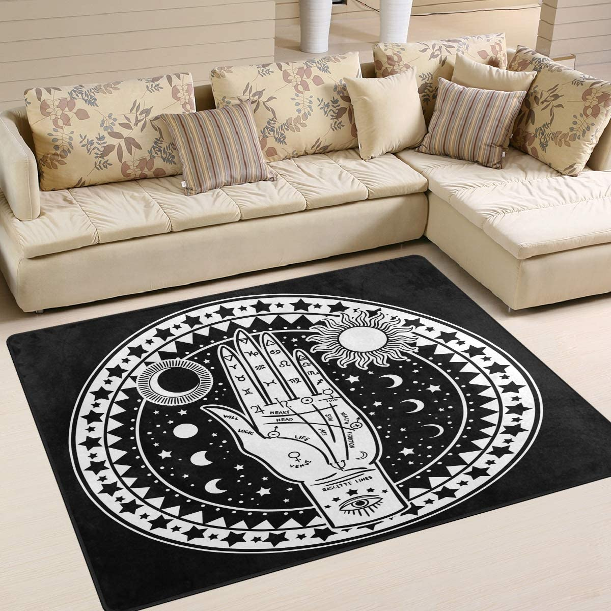 AGONA Tarot Sun and Max 87% OFF Moon Ranking TOP9 Palmistry Mystical White Rug Black Area