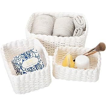 La Jolíe Muse Scatole di Immagazzinaggio di Carta di Eco Cestino di Immagazzinaggio Bianco Impilabile Cestini portaoggetti Fatto a Mano Asciugamano Libri di Trucco Armadio Bedroom Decor Set di 3