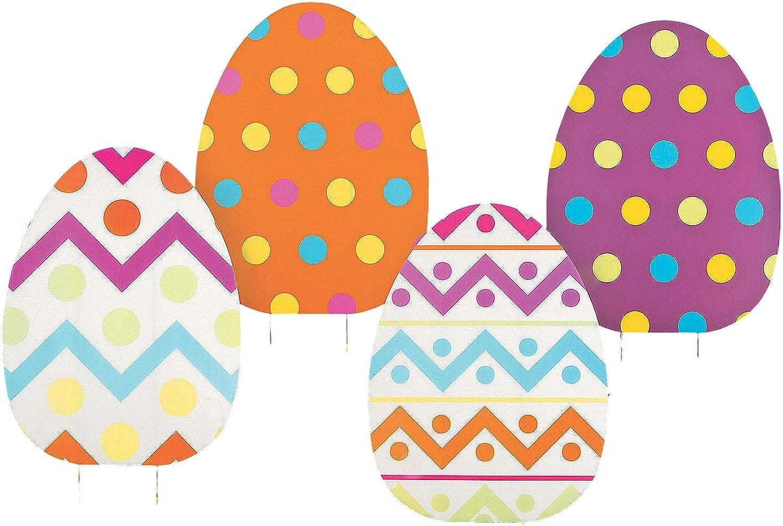 ASSORTED PRINTS Set of 4 whimsical colorful large Jumbo Spring Easter Egg Yard sign garden decoration