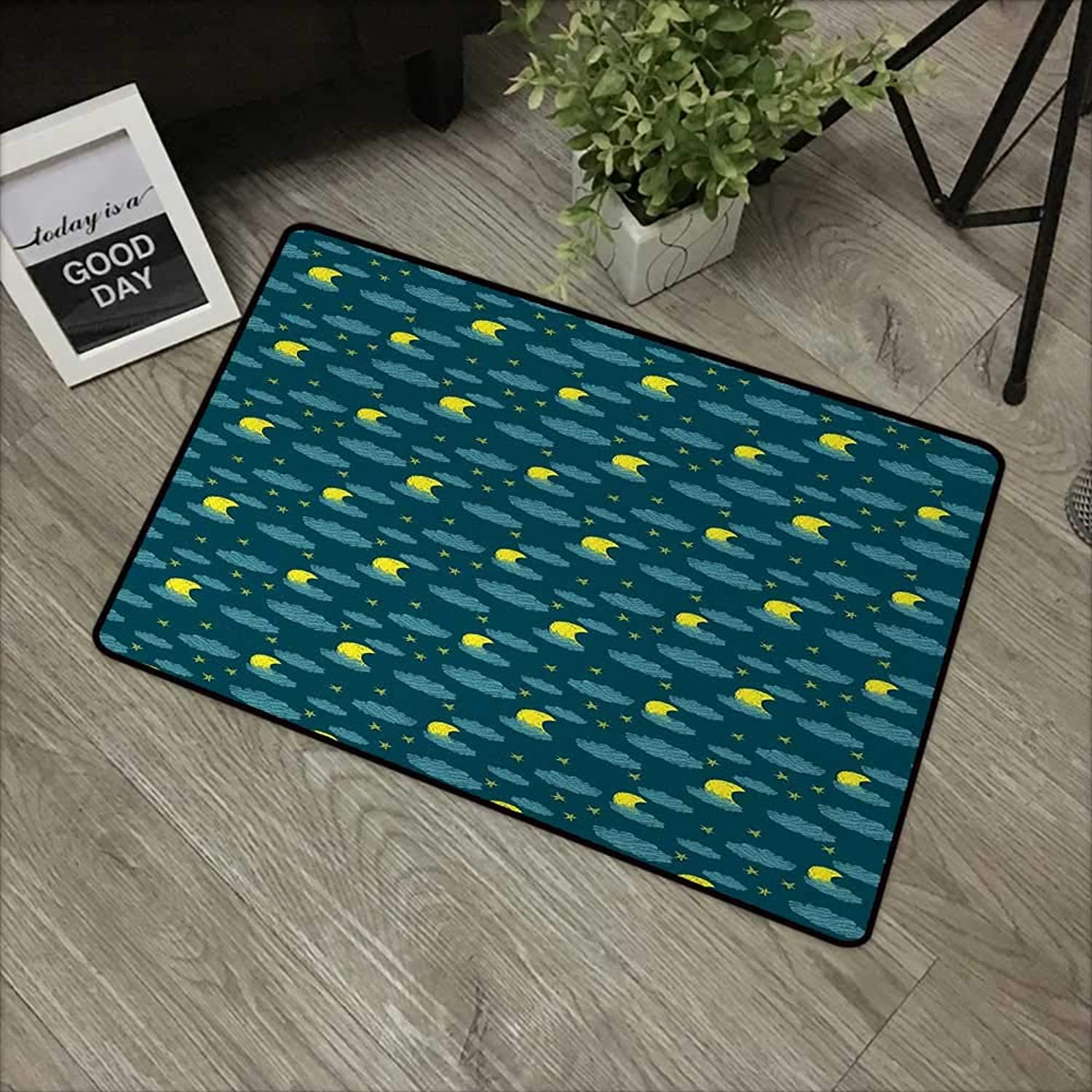 Bathroom mat W35 x L59 INCH Moon,Scribble Starry Sky Pattern with Hand Drawn Style Crescent Moon and Cloud Figures,Teal Yellow Easy to Clean, no Deformation, no Fading Non-Slip Door Mat Carpet