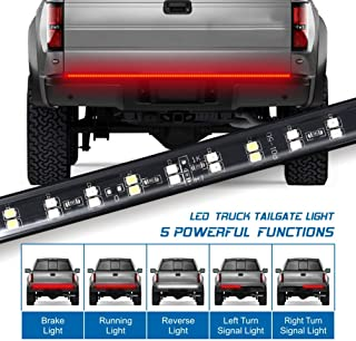 Fuguang 60'' 2-Row Truck Tailgate Light Bar 5-Function Flexible Strip Lights 216Leds High Brightenss White/Red for F150 Dodge GMC 1yr warranty