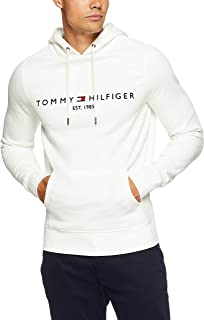 TOMMY HILFIGER Men's Tommy Logo Hoody, Snow White, X-Small