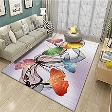 Hygroscopisch tapijt Bruin Woonkamer tapijt bruin blad eenvoudig patroon met duurzaam tapijt Prachtig stoeltapijt 140x200c...